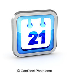 3d blue striped date icon on a white background