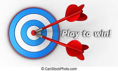 3d blue target with play to win sign