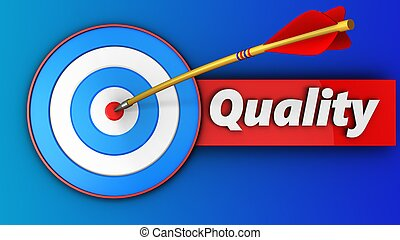 3d blue target with quality