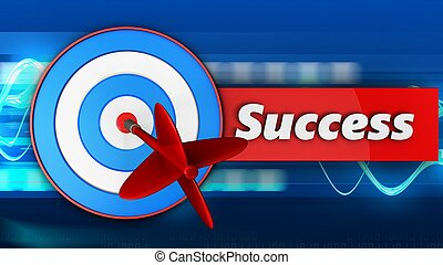 3d blue target with success