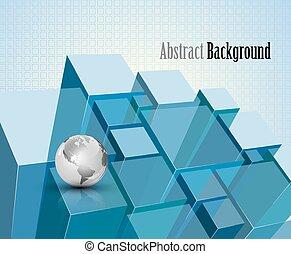 3d blue transparent crystal modules