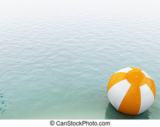 3d blue water with beach ball.