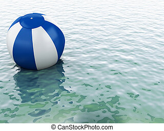 3d blue water with beach ball