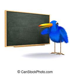 3d Bluebird at the blackboard