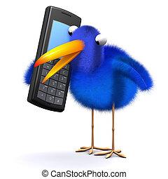 3d Bluebird chats on a cellphone - 3d render of a blue bird...