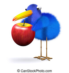 3d Bluebird finds an apple