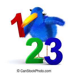 3d Bluebird learns to count - 3d render of a bluebird with...
