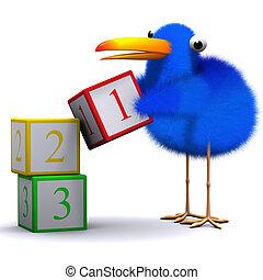 3d Bluebird learns to count - 3d render of a blue bird...
