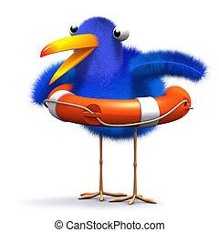 3d Bluebird rescue - 3d render of a blue bird with a...