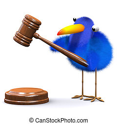 3d Bluebird runs an auction - 3d render of a blue bird with...