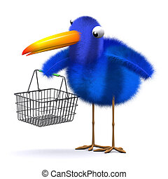 3d Bluebird with an empty shopping basket