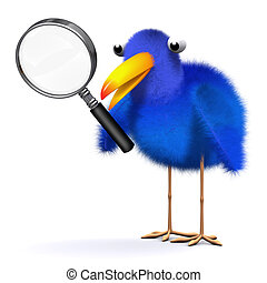 3d Bluebird with magnifying glass