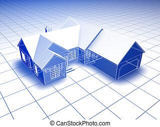 3D Blueprint House - Blueprint style 3D rendered house. Blue...