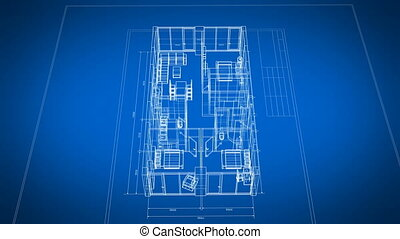 3d Blueprint of Abstract Apartments with Furniture Turning on Blue and White Seamless. Looped 3d Animation Grid Mesh. Construction Business Concept. 4k Ultra HD 3840x2160.