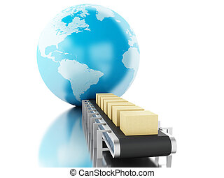 3d, boîtes, carton, belt., convoyeur