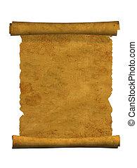 3d, boekrol, van, oud, perkament