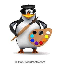 3d Bohemian penguin painter