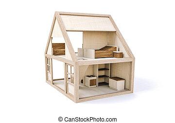 3d, bois, maison, blanc, fond