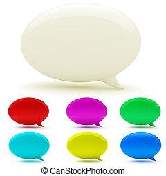 3d, bolha, conversa, branco, fundo