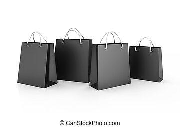 3d, bolsas de compras, venta, concepto