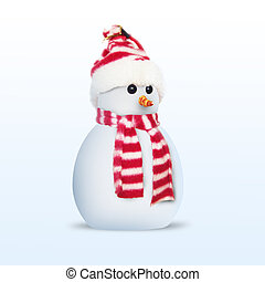 3d, boneco neve, sobre, fundo branco