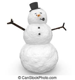 3d, bonhomme de neige
