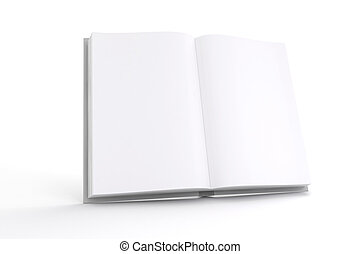 3d book with blank pages on white background