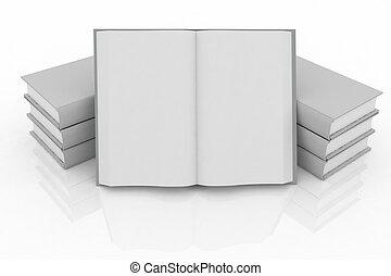 3d books on background white