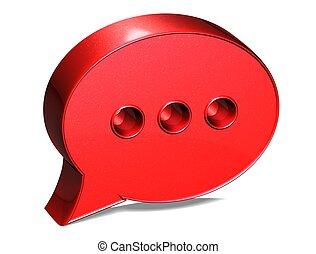 3d, borbulho fala, vermelho, sinal, branco, fundo