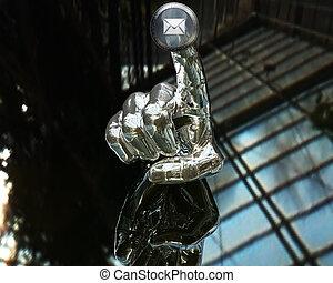 3d, botão empurra, prata, mão