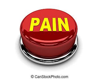 3d, botão, vermelho, dor, parada, empurrão