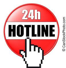 3d, botón, hotline