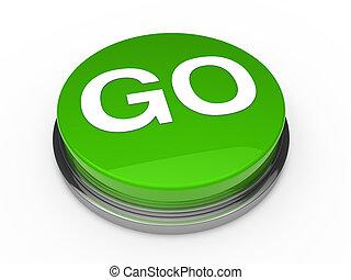 3d, botón, ir, verde