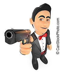 3D Secret agent aiming with a gun