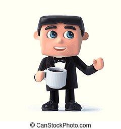 3d Bow tie spy has a cup of tea