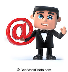 3d Bow tie spy has an email address symbol