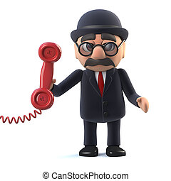 3d Bowler hatted British businessman answers the phone