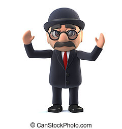 3d Bowler hatted British businessman cheers.