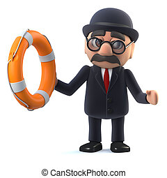 3d Bowler hatted British businessman comes to the rescue