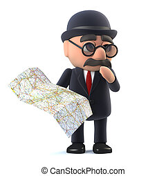 3d Bowler hatted British businessman looks at the map