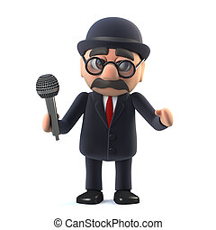 3d Bowler hatted British businessman sings into the microphone