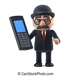 3d Bowler hatted British businessman has a cellphone