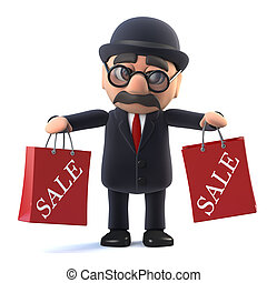 3d Bowler hatted British businessman has been to the sales