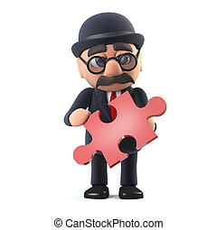 3d Bowler hatted British businessman has a piece of the puzzle