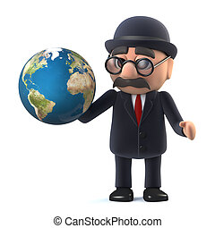 3d Bowler hatted British businessman has the World in his hands