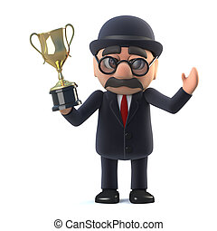 3d Bowler hatted British businessman has won the gold cup trophy award.