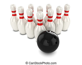 3d Bowling ball hits pins - 3d render of a bowling ball...