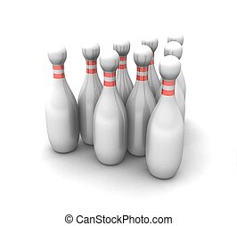 3d bowling on a white background