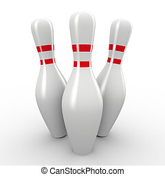 3d bowling pins - 3d render of bowling pins
