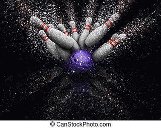 3d, bowling, skittles, met, schitteren, effect
